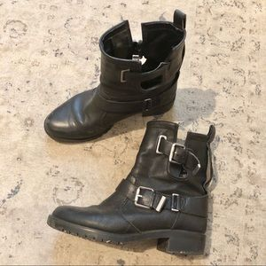 Zara Black Leather Moto Boots